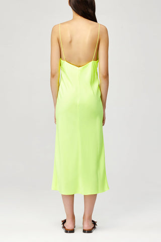 Acler Ladies Aviel Dress in Citrus Lime Green with Scalloped V-Neckline Back Detail