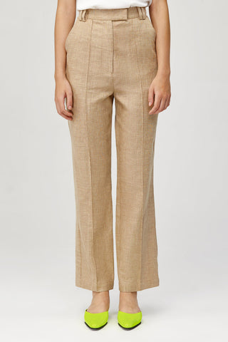 Acler Ladies High Waisted Straight Leg Belvue Pant in Bone