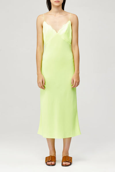 Acler Ladies Aviel Dress in Citrus Lime Green with Scalloped V-Neckline