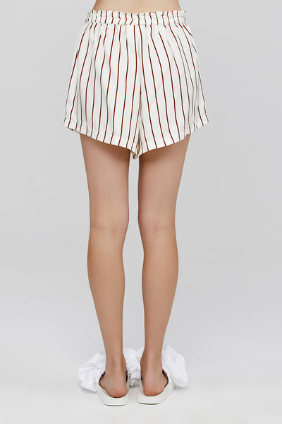 White Acler Ladies Silk Short with Red Ruby Stripe