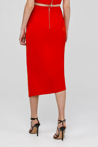 Back Zip Detail on Red Acler Crawford Skirt