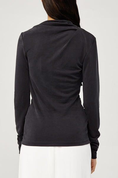 Acler Ladies Charcoal Gathered Long Sleeved Stretch Top