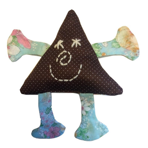 Organic Cotton Cuddly Triangle Friend - BROWN/BLUE