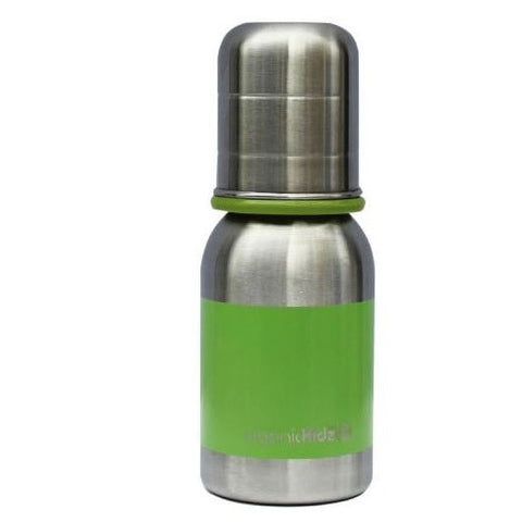 OrganicKidz™ Slow Flow Stainless Steel Baby Bottle Green - 4 oz (0+ months)