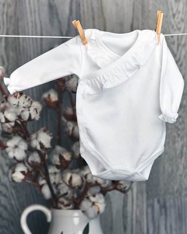 Romance baby girl - organic cotton 2 piece body suit with flounce (Luxury line)