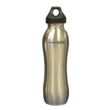 Watergeeks Water Bottle Brushed Stainless Steel with Loop Cap - Not filtered