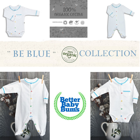 Be Blue - organic cotton body suits with colorful buttons 2 PCS SET - Luxury line