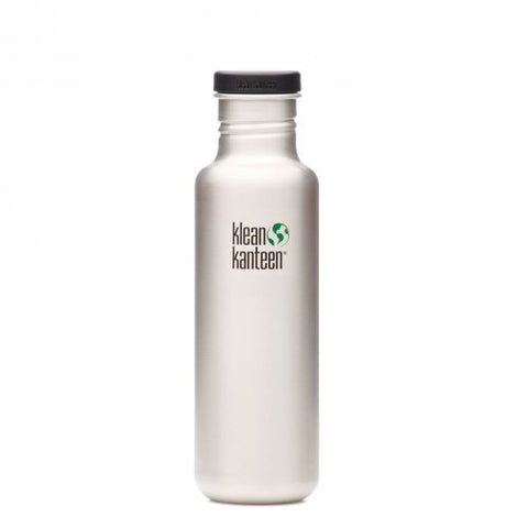 Klean Kanteen Water Bottle Brushed Stainless Steel Flat Cap 27 oz