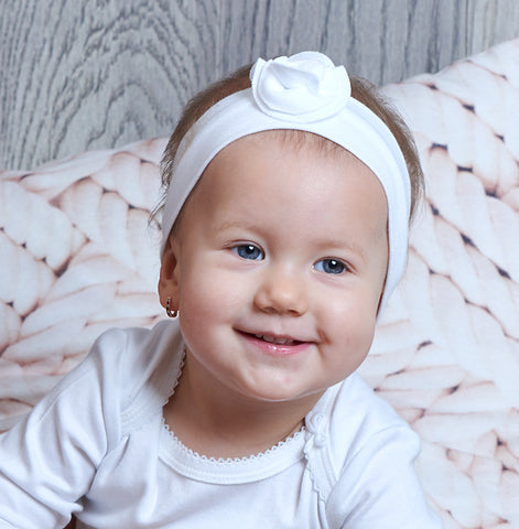 Elegant baby girl - organic cotton headband with flower (Luxury line)