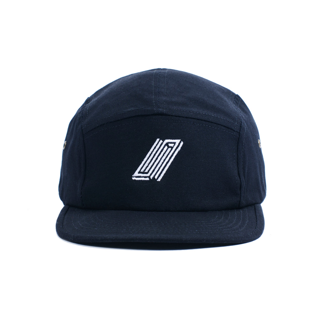 Reborn 5 Panel Embroidered Cap - Black
