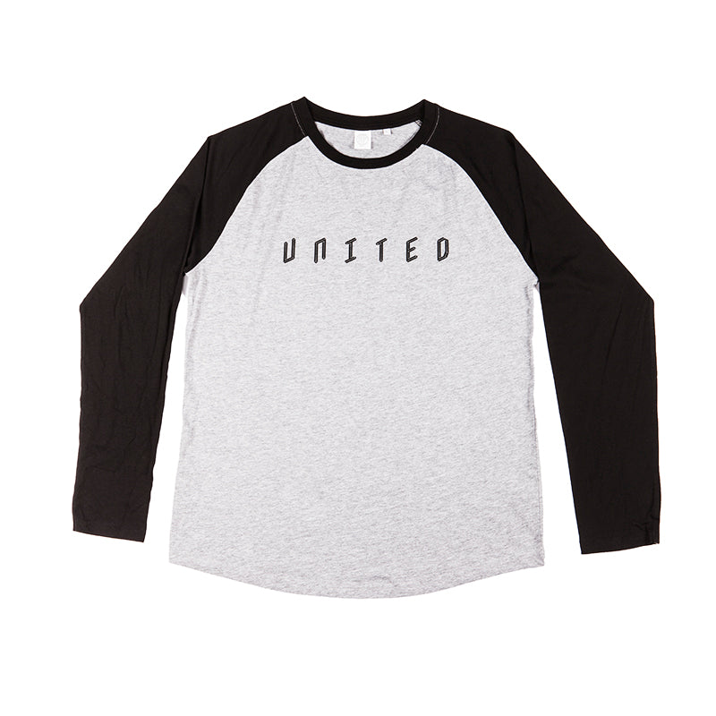 Baseball Long Sleeve T-Shirt Heather With Black Sleeve