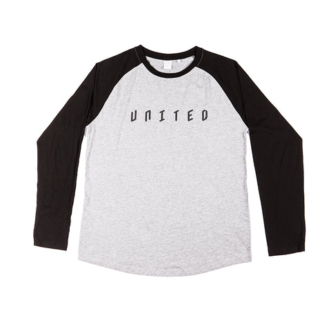 BASEBALL LONG SLEEVE T-SHIRT LIGHT HEATHER WITH BLACK SLEEVE
