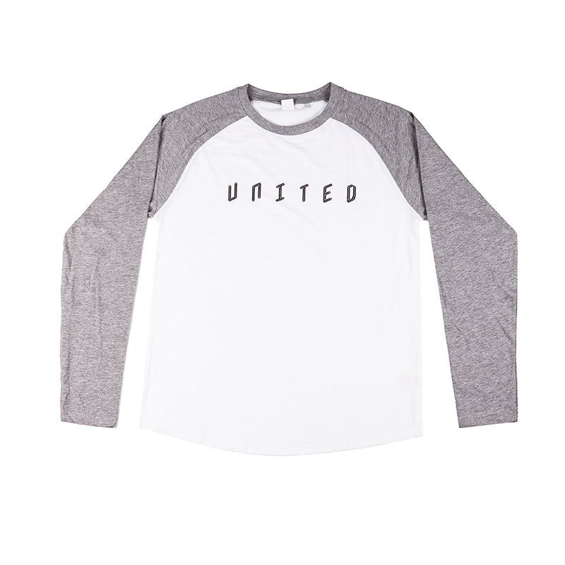 Baseball Long Sleeve T-Shirt White With Grey Sleeve