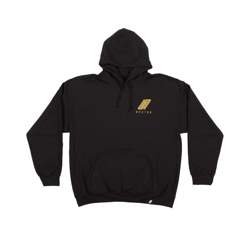 United Reborn Hoodie Black with Orange Print