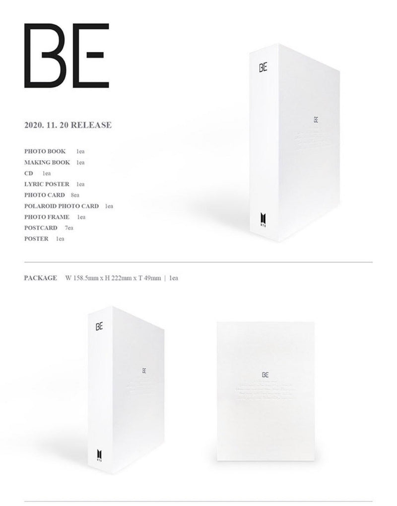 BTS - BE (Deluxe Edition) + Album Concept Lyric Note + Postcard