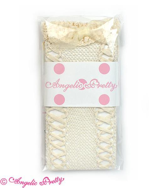 ANGELIC PRETTY - Lace Up Ribbon Over the knee Socks (Creme)