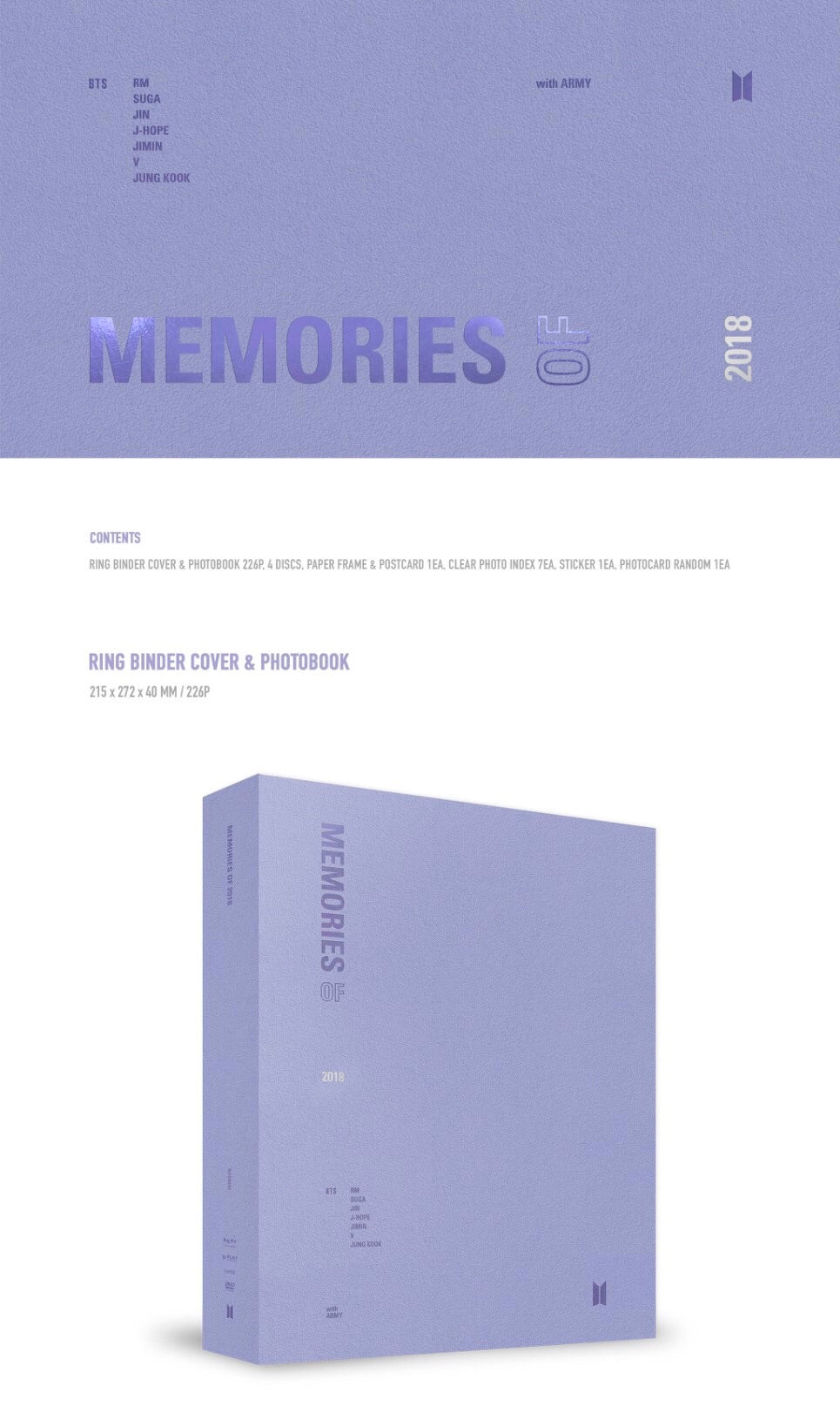 BTS - Memories of 2018 - 4 DVDs  - Pre-Order