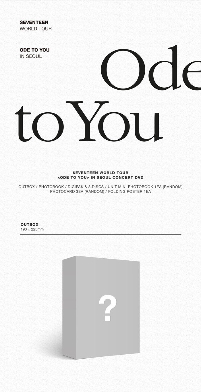 Seventeen - Seventeen World Tour 'Ode To You' in Seoul - 3 DVDs - J-Store Online