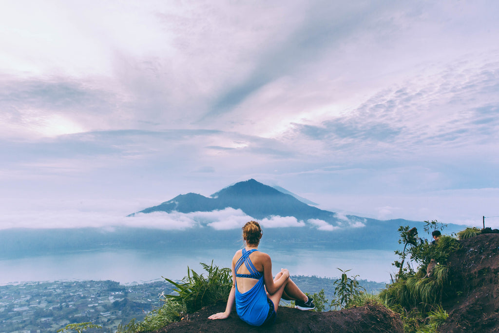 Polkadot Passport at Supernomad - Nicola Easterby with mountain view in Bali, Indonesia