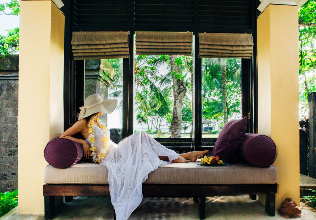 Polkadot Passport at Supernomad - Nicola in window seat, Four Seasons Sayan - Ubud, Bali, Indonesia