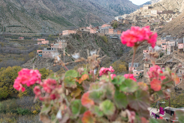 Sophee Smiles - At Home in Morocco - Imlil Town Through Flowers