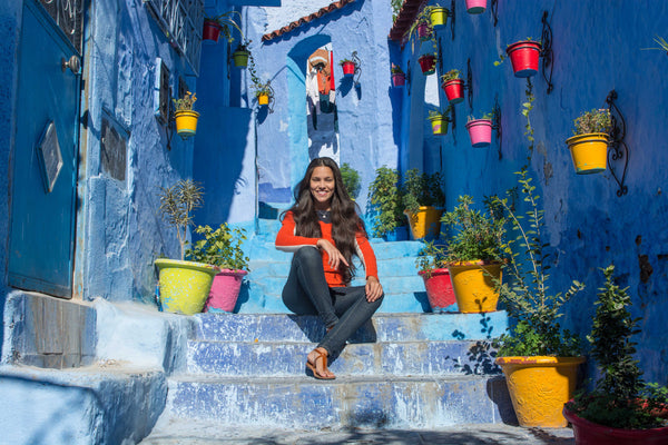 Sophee Smiles - At Home in Morocco - Sitting on Blue Stairs