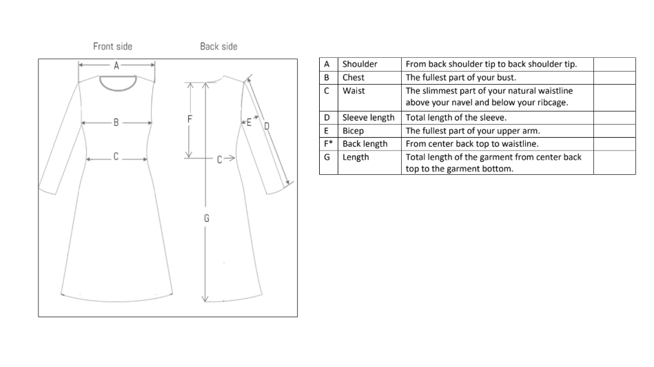 Measuring guide for clothing