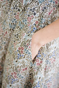 Linen floral dress, up close floral pattern photo.