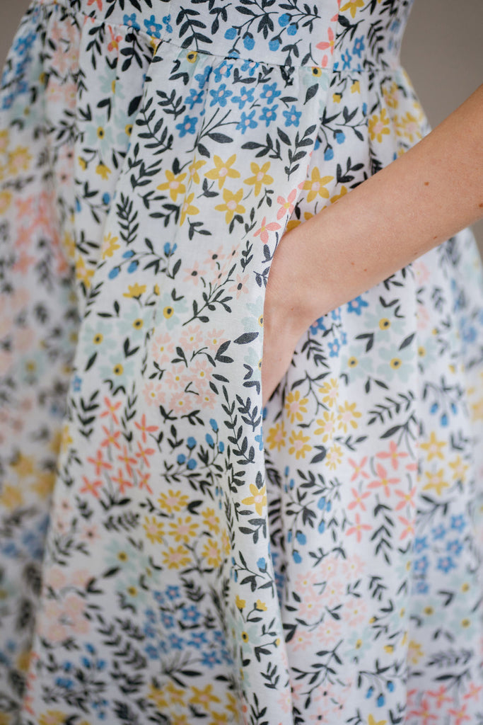 Floral linen dress, up close image from the side.
