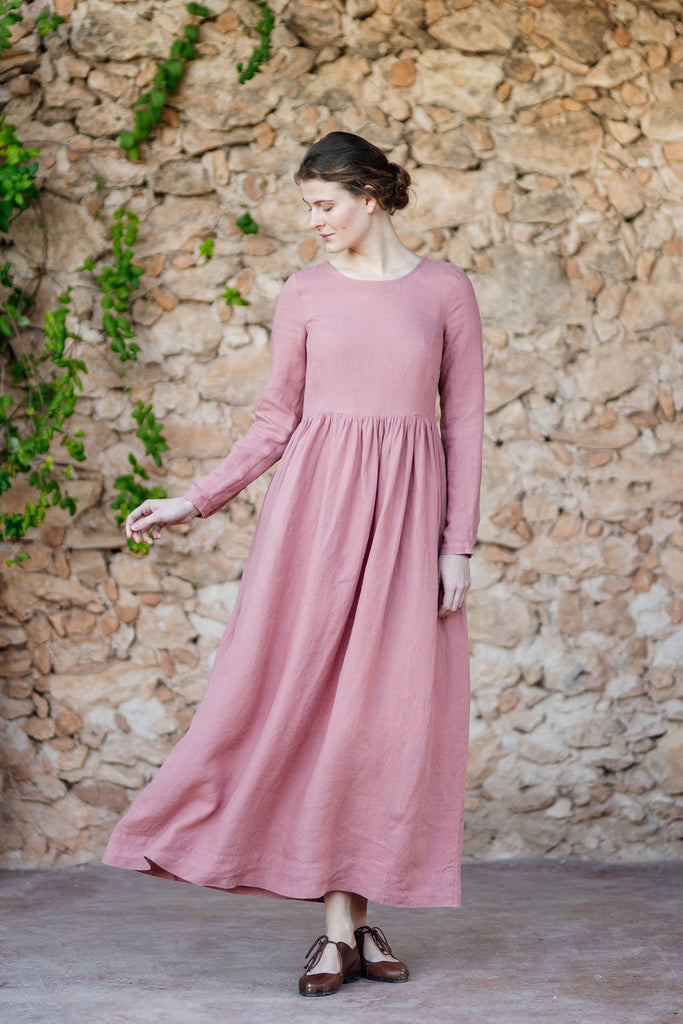 Long pastel pink linen dress for women with long sleeves