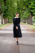 Classic style black midi dress with white linen collar