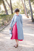 Button Down Dress, Long Sleeves, Picnic Blue