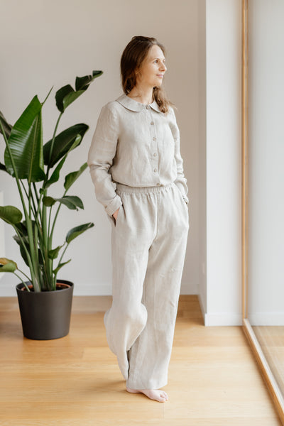Lotus Trousers, Natural Linen
