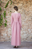 Pink mud linen dress with long sleeves