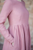Long smock linen dress with long sleeves, pocket detail