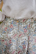 Softened linen skirt in floral print, up close image of a linen fabric.