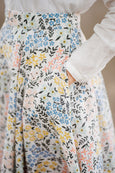 Linen summer skirt in floral print, up close image of a pattern.
