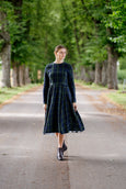 Marie Dress, Long Sleeves, Blue Tartan