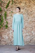 Long smock linen dress in mint green color with long sleeves
