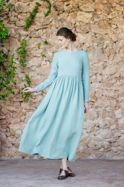 Long smock linen dress in light green color