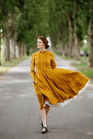 Elisa Dress, Long sleeves,  Marigold