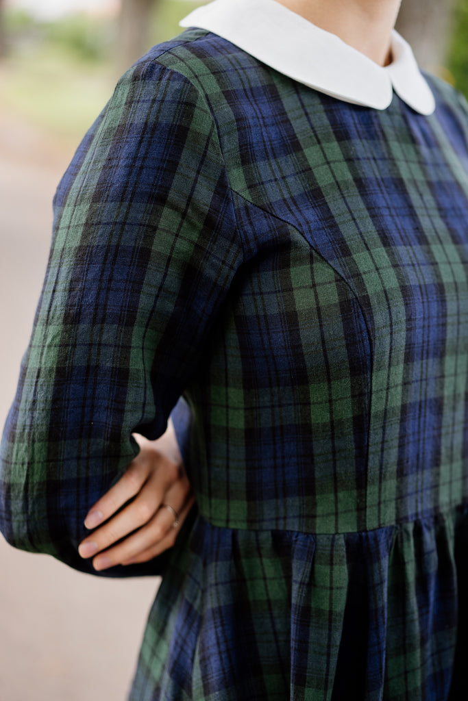 Plaid linen dress with white linen collar, up close image from the front