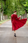 Marie Dress, Long Sleeves, Red Poppy