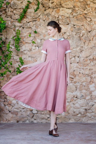 Classic Dress with Embroidered Meadow Peter Pan Collar, Short Sleeves, Petal Rose