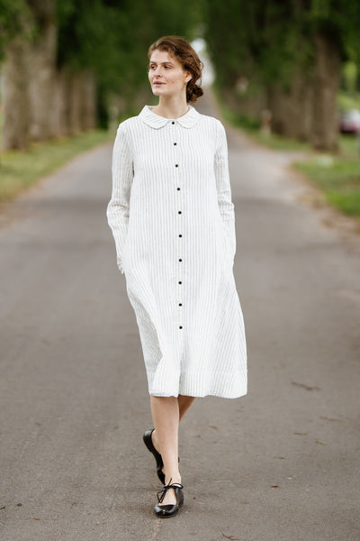 Button Down Dress, Long Sleeves, Symphony White