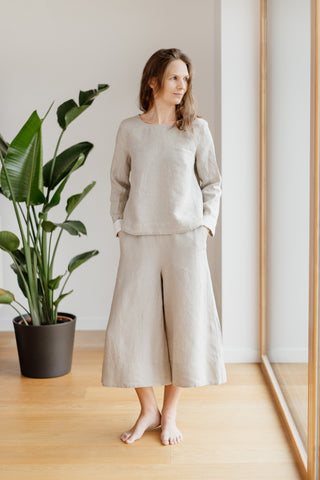 Catherine Trousers, Natural Linen
