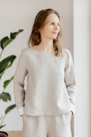Catherine Shirt, Natural Linen