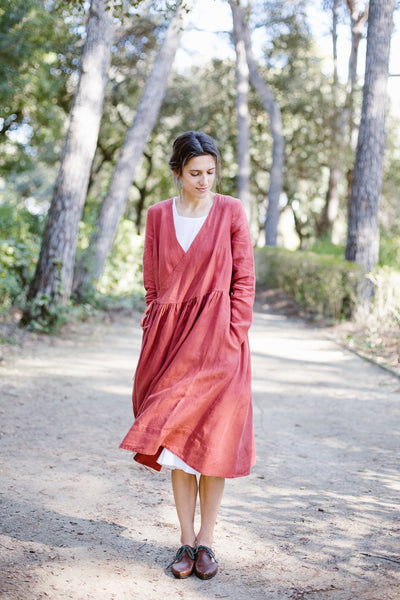 Wrap Dress, Long sleeves, Saffron