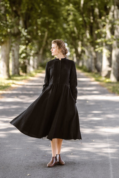 Elisa Dress, Long sleeves,  Black Pansy