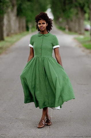 Classic Dress, Short sleeves, Spring Green